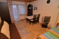 mit Tisch, Stühlen, Schlafcouch, TV und Zugang zur Terrasse - Bild 3: Ferienwohnung Bärbele im Neckartal am Fuße der Schwäbischen Alb