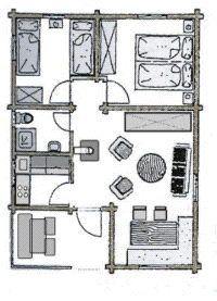 Das AWM-Ferienhaus verfügt über ein Wohnzimmer mit Eßecke, zwei Schlafzimmer, ein Bad mit Dusche und WC, eine Küche mit Heißluftherd und Spülmaschine und eine überdachte, möblierte Terrasse. - Bild 9: AWM-Ferienhaus im Bayerischen Wald, gemütliches Holzblockhaus mit Kaminofen