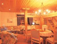 großzügiges Wohnzimmer mit Esstisch. viel Holz schafft Gemütlichkeit - Bild 3: Mühle in Alleinlage mit eingez. Garten auf Rügen für Urlaub mit dem Hund