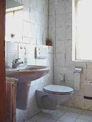 Ihr Bad mit WC und Duschkabine, sowie einer Waschmaschine. - Bild 6: Ferienwohnung Pfau in Immenstaad am Bodensee
